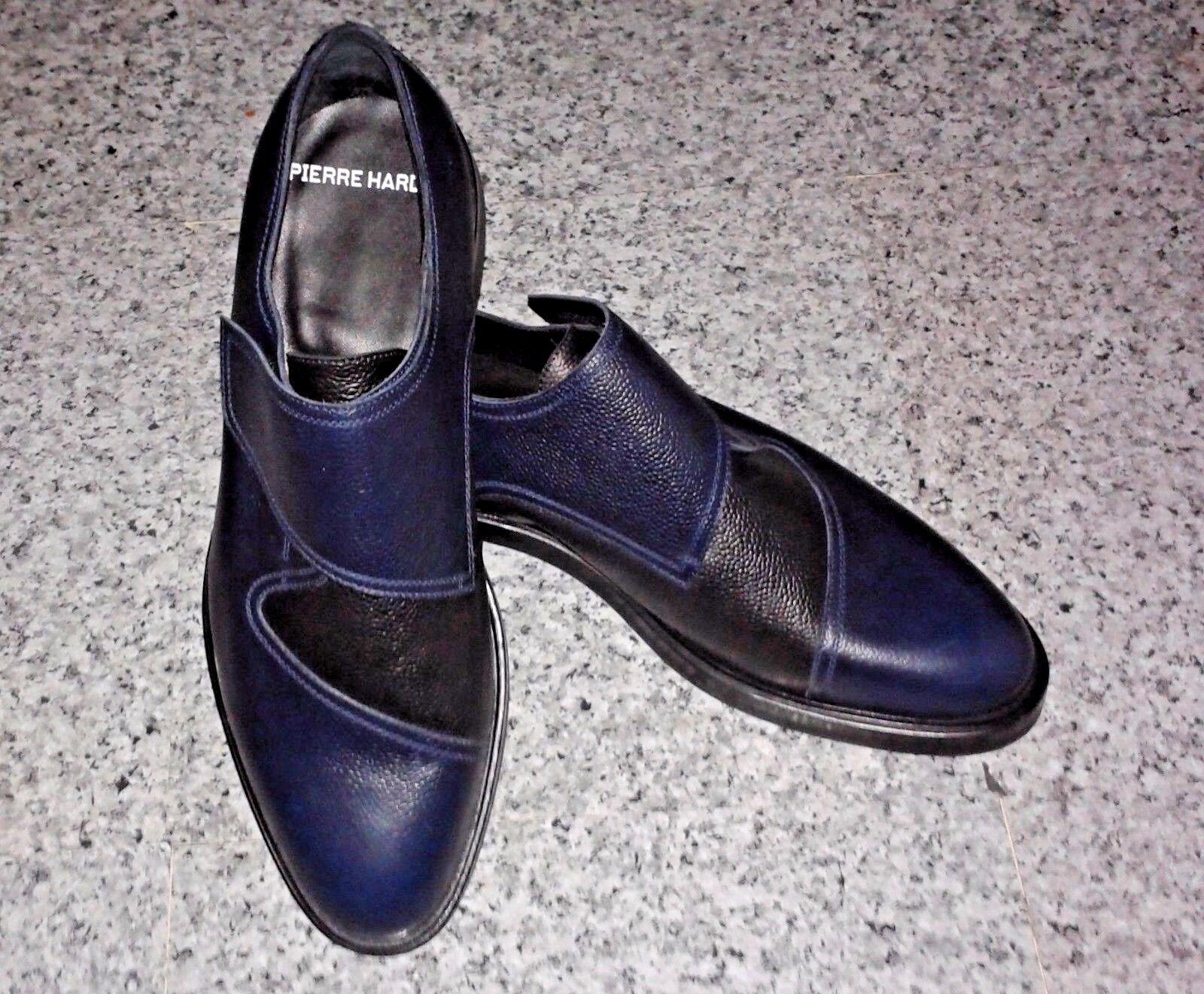 Pierre Hardy Blu scuro/nero pelle di vitello grana Scarpe Brogue Derby-/EUR 44 Scarpe classiche da uomo