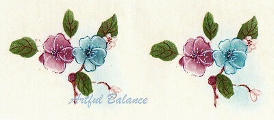 Ceramic Decals Pastel Blue Pink Floral  Branch / Bits