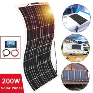 200W-Kit-de-panel-solar-flexible-20A-controlador-Pv-Conector-para-Camping-Coche-Yate