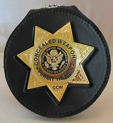 Gold colored seven point star CCW Badge Eagle breast badge and belt clip