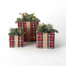 Lighted Holiday Gift Box Decorations for Indoors - 3 Pieces