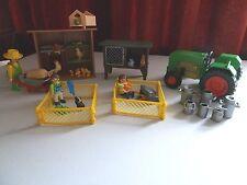 Playmobil Hen House 6207 Rabbit Hutch 3721 Girl/Guinea Pigs 4794 Tractor -Farmer