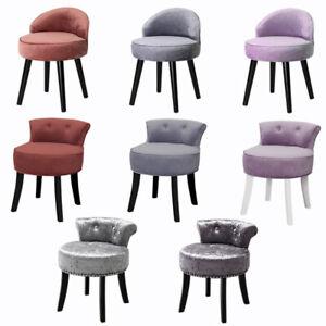 Retro Dressing Table Stool Velvet Vanity Chair Seat with Black Legs Bedroom Unit