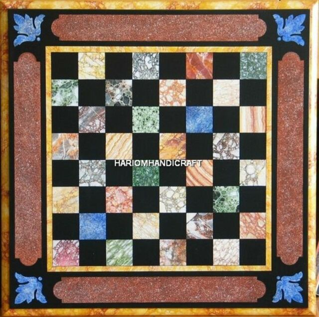 Square Marble Chess Coffee Table Top Cubes Mosaic Inlaid Living Home Decor H5128