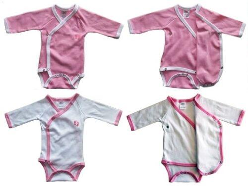 5 rosa Langarm Baumwolle Gr 50 56 1-3 M NEU 10 SET Wickelbody Bodys 5 weiß