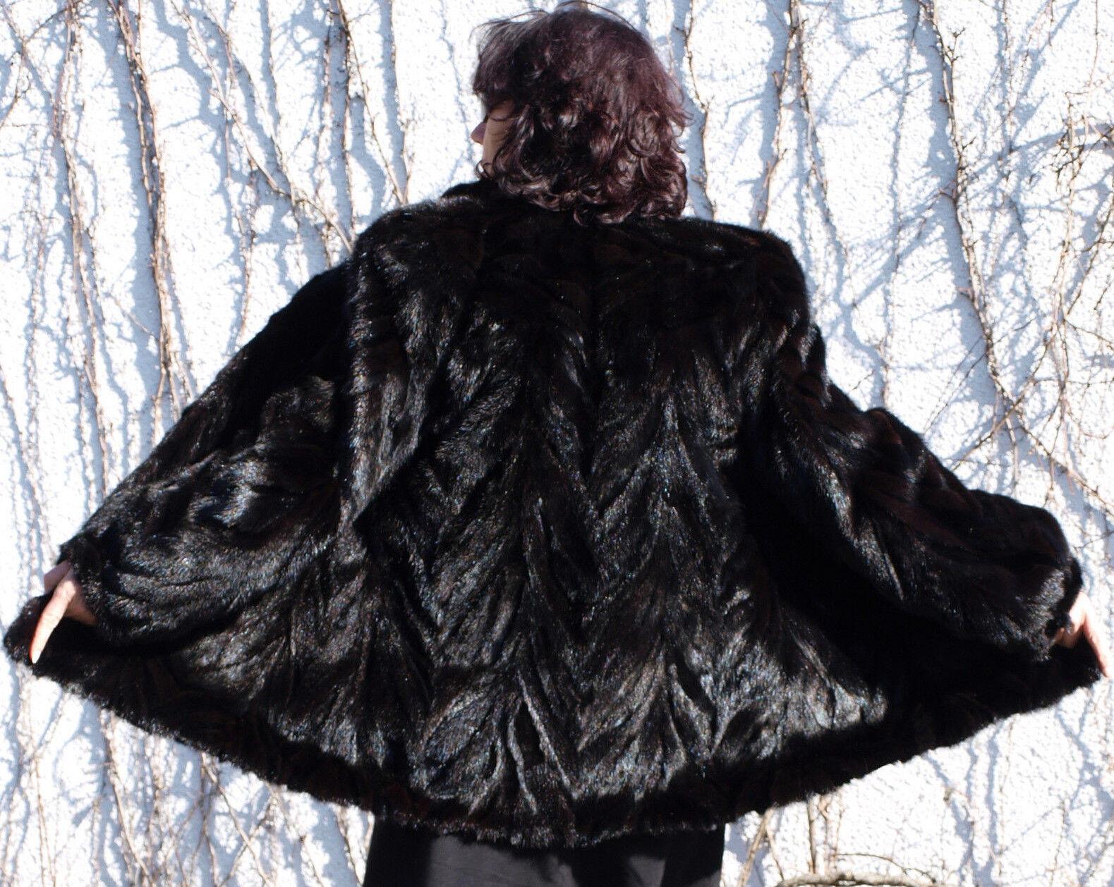 Chaqueta de Visón Piel Moda Invierno Abrigo  Negro marrón  conveniente