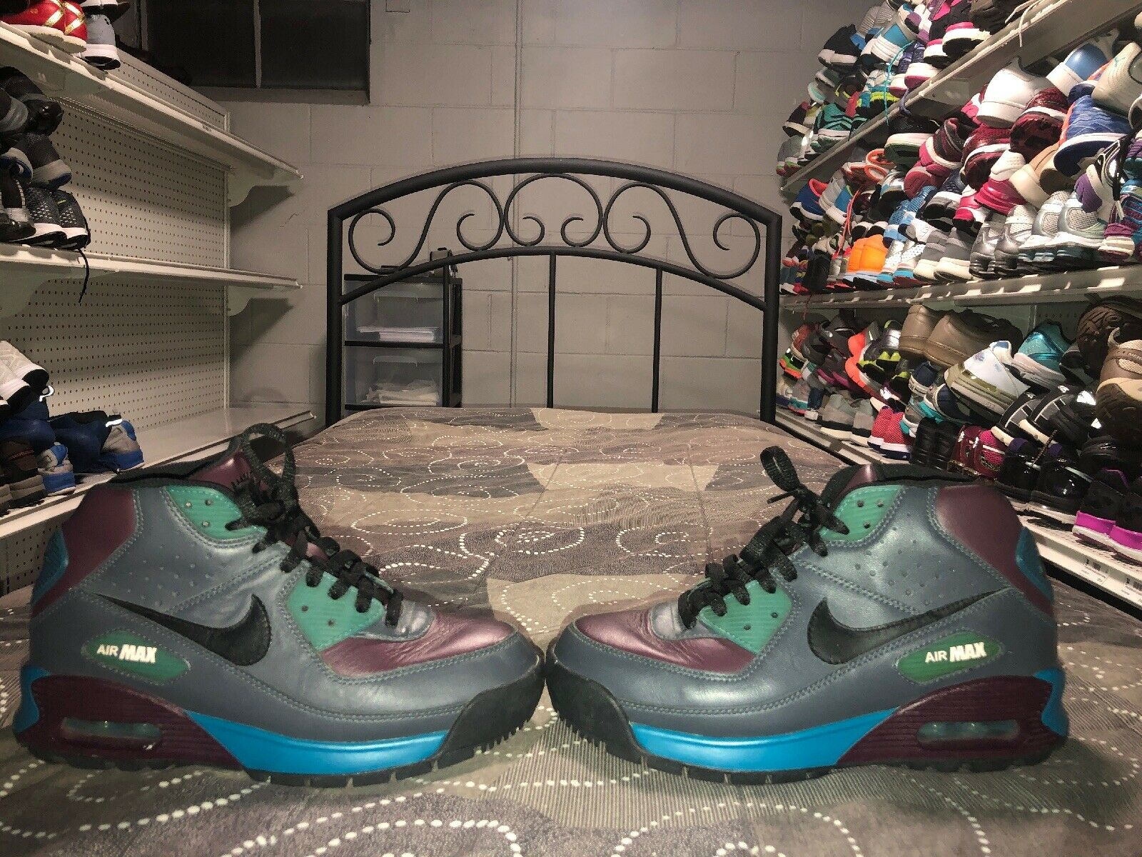 Nike Air Max 90 Womens Leather Athletic Sneakerboots shoes Size 8 Multi color