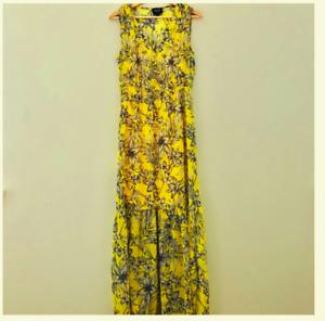 Eci New York Sleeveless Floral Print Maxi Dress Gelb Größe Large