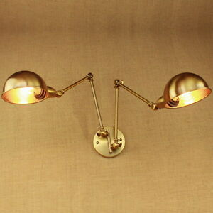 Details About Br Gold Double Head Swing Arm Wall Lamp Adjule Metal Light Fixtures