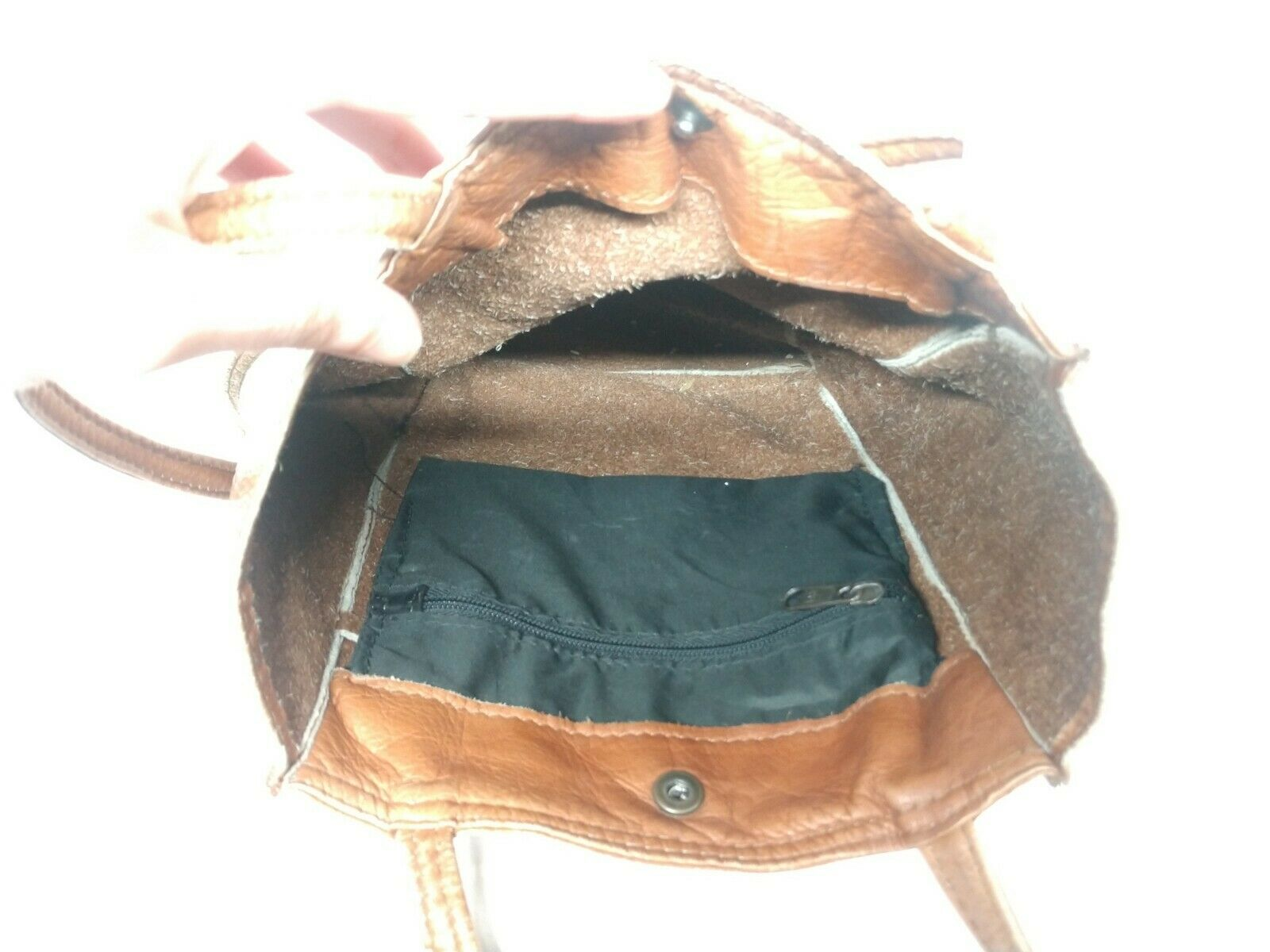 Unbranded Women's Tan Genuine Leather Square Boho… - image 4
