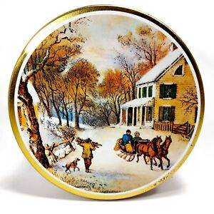Vintage Party Cookies Collectible Christmas Tin w/ Outdoor Snowy Winter Scene