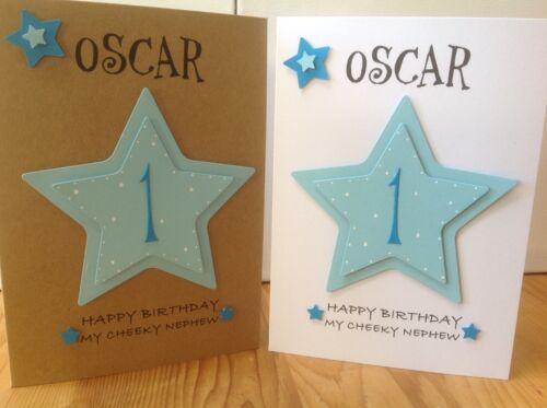 Handmade 1st Birthday Personalised Card Son Grandson Godson