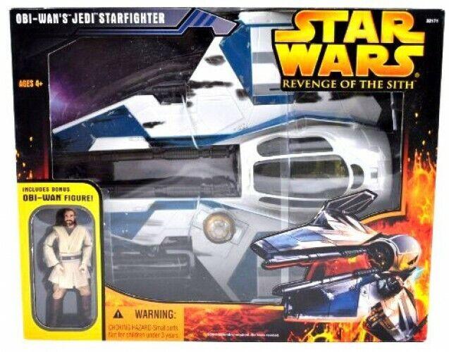 Star Wars 2005 Obi-Wan's Jedi Starfighter Action Figure Vehicle [blueee Trim]