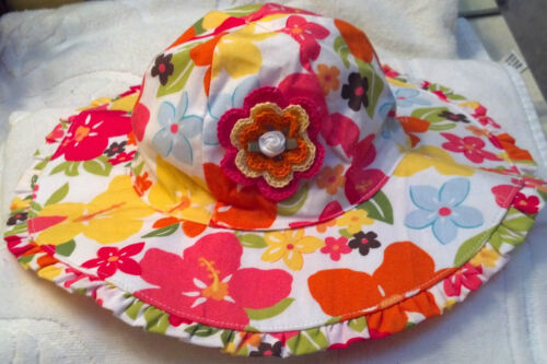 NEW GYMBOREE SUNHAT HAT GIRLS 12 18 24 MONTHS 2 3 4 5 YEARS FLORAL YELLOW PINK
