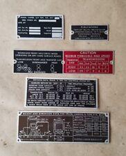item 3 n o s  complete dodge m37 data plate set g741 -n o s  complete dodge  m37 data plate set g741