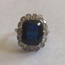 Antique Emerald Cut 5ct Sapphire & 1.50ct Diamond 18ct Gold Art Deco Ring