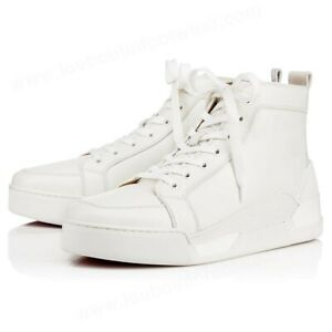 Christian Louboutin Mens Rankick Flat White Calf Leather High Top