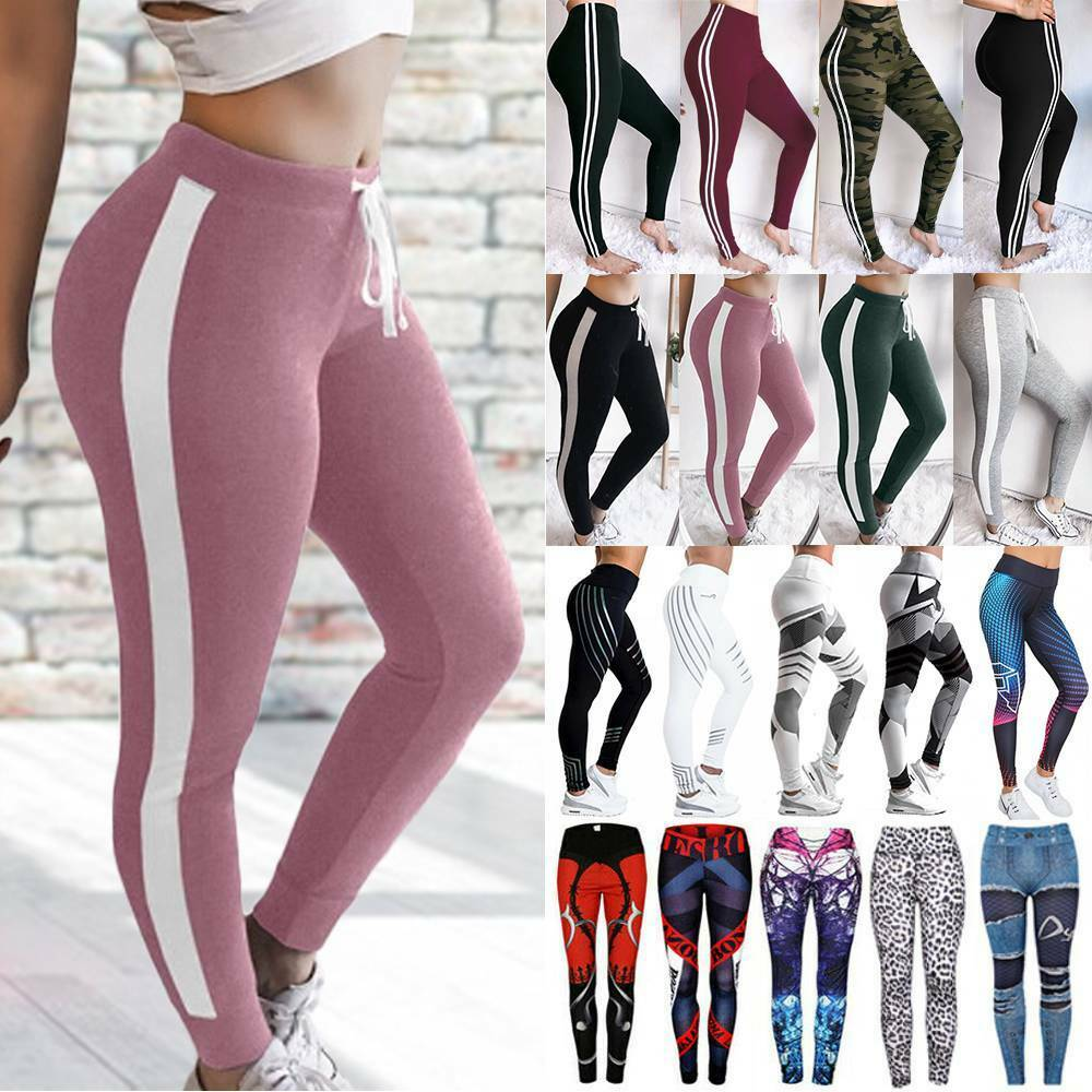 Women High Waist Sports Yoga Pants Leggings Print Fitness Gym Stretch Trousers P
