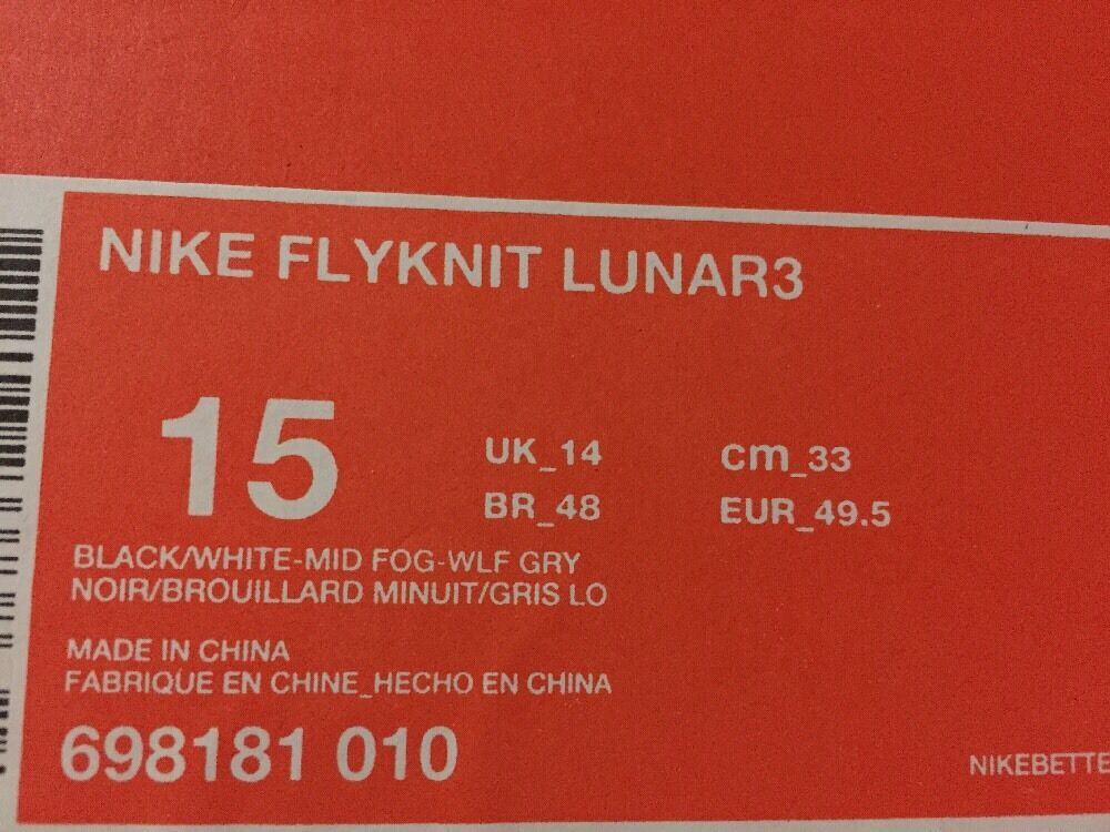 nike lunar flyknit 3 sz 15 grauen schwarz - weiß - grauen 15 männer oreo - laufschuhe 698181-010 0f430e