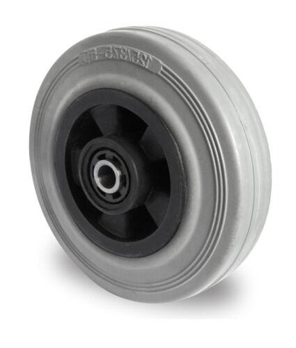 Transportrolle lenkbar 80 mm Gummibereifung Grau Spurlos Platte Lenkrolle Rad