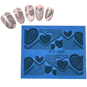 Valentines-Nail-Art-Stickers-Water-Decals-Wraps-Love-Hearts-Stamping-stvvz40