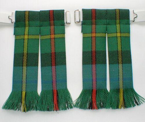Kilt Flashes Tartan Smith ancienne laine peignée Fringed Tuyau Chaussette Made Scotland