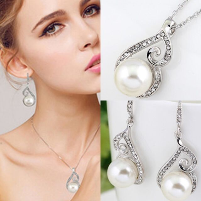 New Elegant Rhinestone Crystal Pearl Necklace Earring Wedding Bridal Jewelry Set
