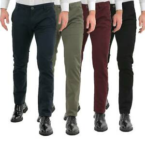 Pantaloni-Uomo-Slim-Fit-Eleganti-Invernali-Cargo-Classico-Chino-Kaki-Tasca-Ameri