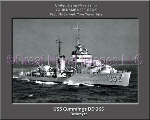 USS Cummings DD 365 Personalized Canvas Ship Photo Print Navy Veteran Gift