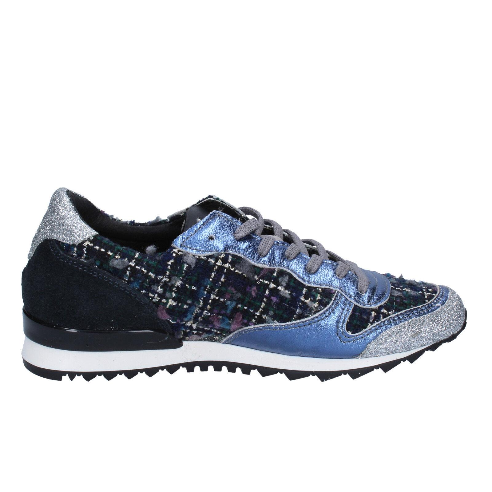 damen schuhe D.A.T.E. ( date ) 38 sneakers blau silber glitter textil BX59-38