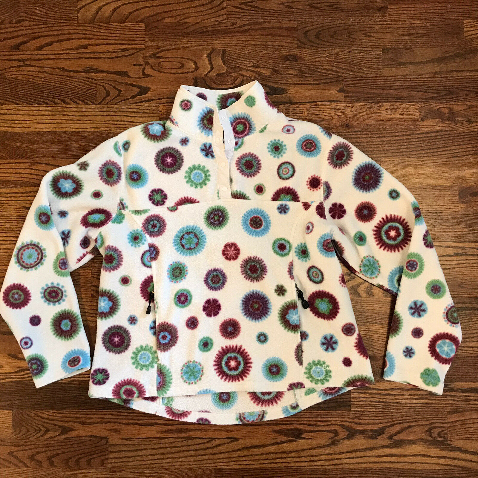 L.L. Bean Womens Snap Fleece Pullover All Over Print White Size Large