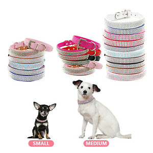 Dog-Cat-Pets-Multi-Colour-Safety-Collar-Diamante-Rhinestone-Crystal-Leather-Band