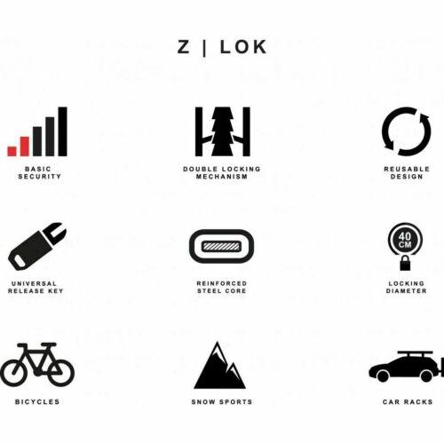 HIPLOK ZLOK Attachez Vélo Verrou de Câble Violet Voyage ZLK1PL Lock USA Chargeur Charity