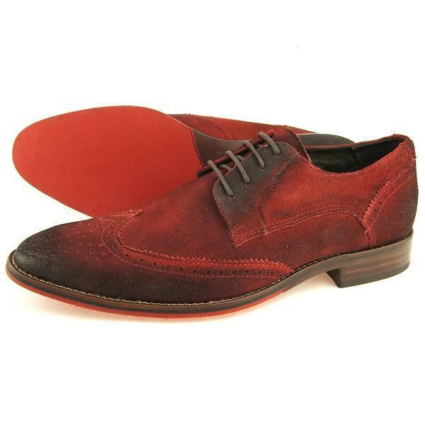 Ferracini Casual Wingtip Suede Oxford, Men's shoes, Red 7-13US 39-46EU 6-12UK