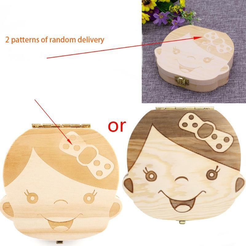 Kids Tooth Box Organizer Baby Save Milk Teeth Wood Storage Box For Boy/&Girl Hot