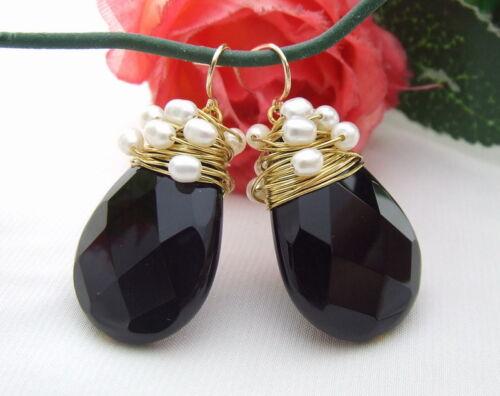White Pearl faceted teardrop Onyx Earrings