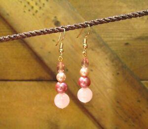 Gemstone pink quartz bead earrings Crystal Gemstone jewelry Small dangle earrings Rose Quartz dangle earrings