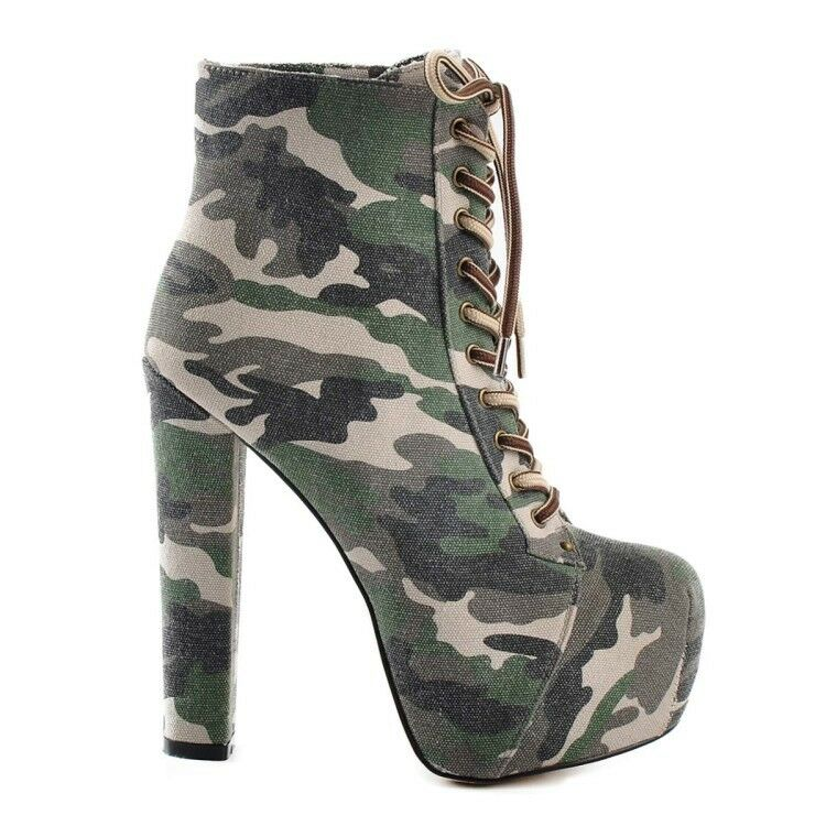 UK Women Camouflage High Heel Army Platform Ankle Boots Lace Up Chunky New shoes