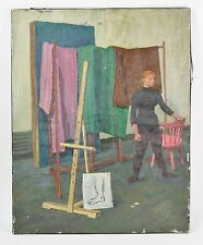 1950's Oil Painting Portrait Dancer in Studio by Victor Lasuchin Russian America