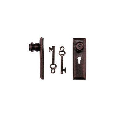 Dollhouse Miniature Bronze Metal Door Knob with Key Plate and Key CLA05526