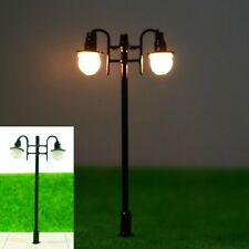 S226 - 10 Stück Lampen Straßenlampen 2-flammig 5,5cm nostalgisch Parkleuchten