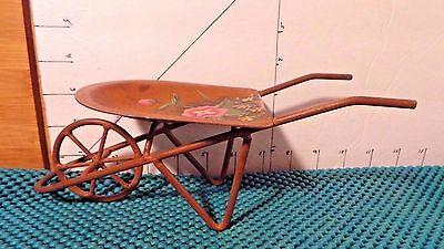Wheelbarrow, Mini, Decorative, Metal, Floral Design, Copper Color