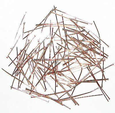 "M452f Rose Gold Finished Brass 24-Gauge 1"" Headpin Metal Components 100/pkg"