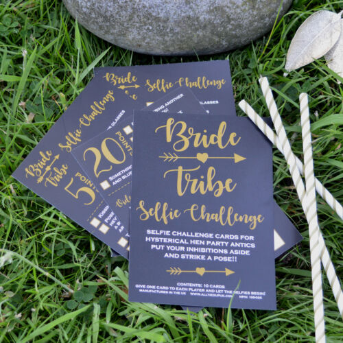 10 x BRIDE TRIBE SELFIE CHALLENGE CARDS Hen Party Accessory Photo Selfie Game