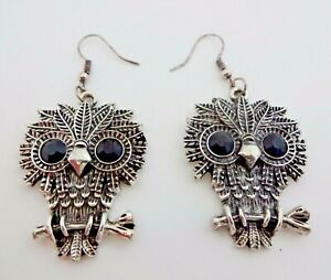 Owl-Earrings-Silver-Base-Metal-Hook-Fasteners-Black-Crystal-Eyes