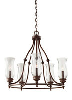 Heritage Bronze Pickering Lane 5-light Chandelier With Clear Seeded Glass Shades on sale