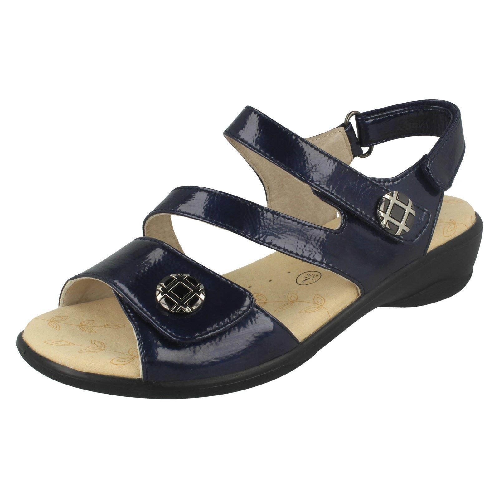 Mujer Viena Corte Ancho Azul Marino Charol Sintético Sandalias de Padders