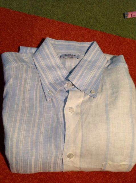 Gran Sasso - BLUE/WHITE STRIPE LONG SLEEVE BTN DOWN LINEN DRESS SHIRT Large