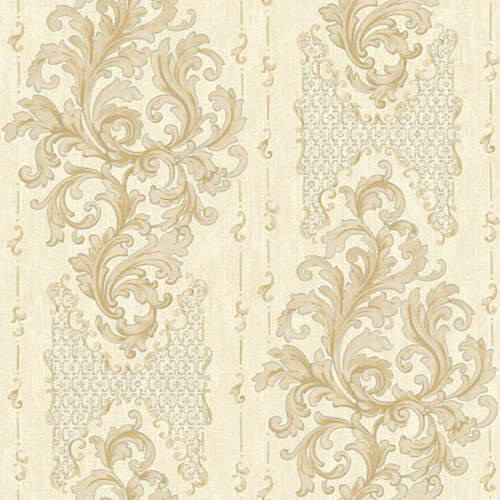 4 Roll LOT-Elegant Damask Stripe Ivory Wallpaper BQ3829 FREE SHIPPING
