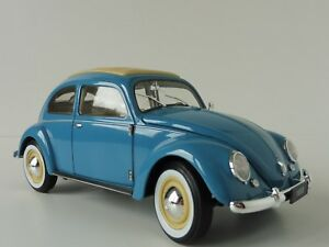 VW-Kaefer-1950-1-18-WELLY-NEXModels-18040W-Volkswagen-Classic-Beetle-blau-beige
